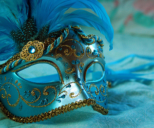 mask, blue, and masquerade image