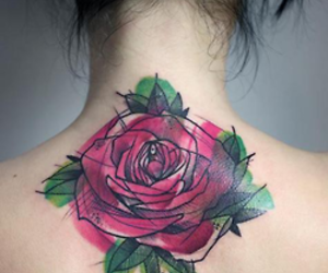 roses, tattoo, and flower image