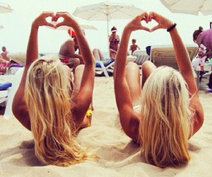 blond girls, hearts, and tan image