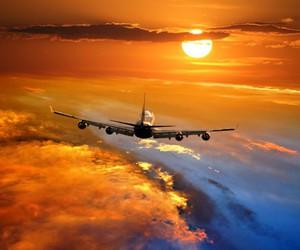 airplane, sky, and plane image