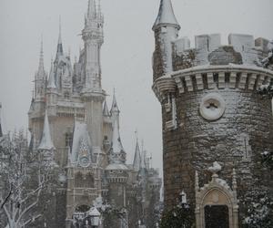 castle, snow, and disneyland image
