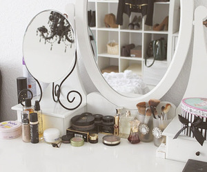 make up, makeup, and mirror image