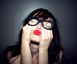 eyelashes, funny, and glasses image