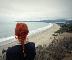 ginger, girl, and sea image