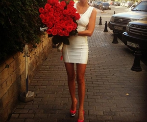 rose, girl, and dress image