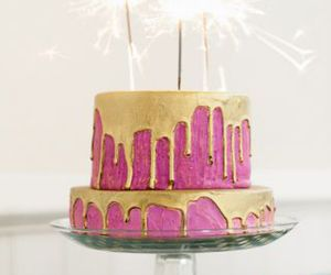 cake, gold, and pink image