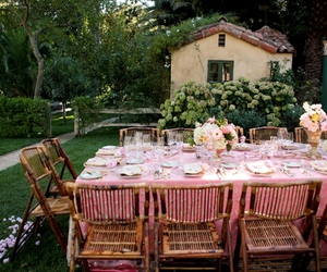 dinner party, nature, and vintage image