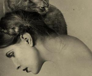 cat, sepia, and woman image