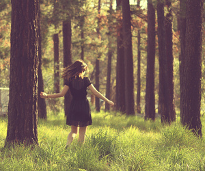 girl, forest, and tree image