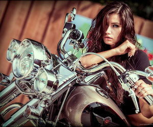 girl, motorcycle, and pretty image