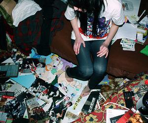 girl, mess, and room image