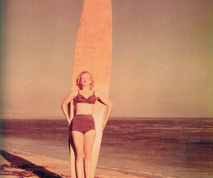 Marilyn Monroe, beach, and surf image