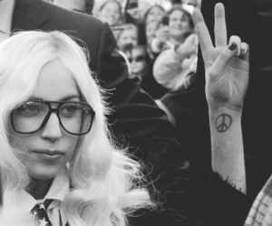 Lady gaga, peace, and black and white image