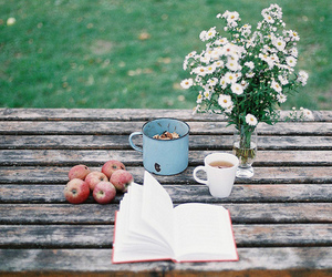 flowers, book, and apple image