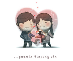 love, puzzle, and couple image