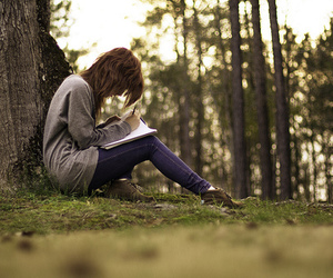 girl, write, and forest image