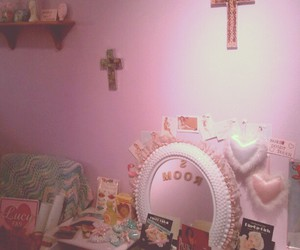 pink, cross, and room image