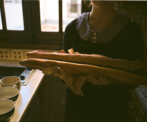 vintage, girl, and bread image