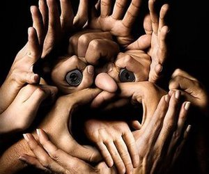 hands, face, and funny image