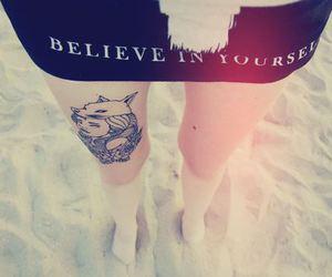 tattoo, girl, and beach image