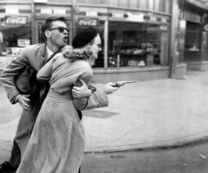 gun, black and white, and couple image