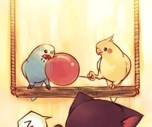 cute, cat, and bird image