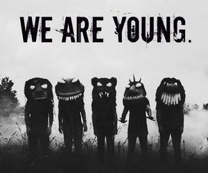 young, monster, and black and white image