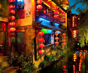 china, night, and city image