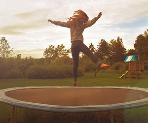 girl, jump, and trampoline image