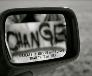change, black and white, and mirror image