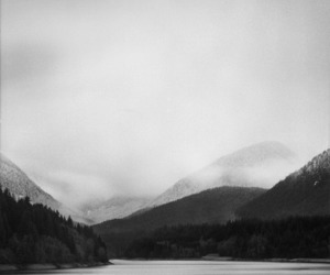 beautiful, black and white, and lake image