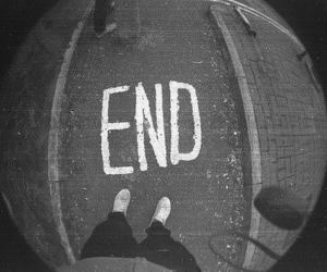end, black and white, and boy image
