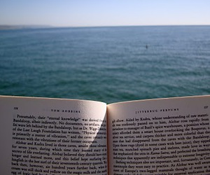 books, ocean, and reading image