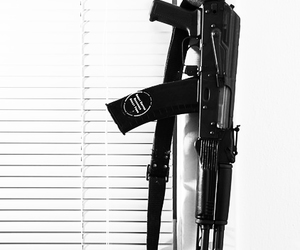 ak-47, black & white, and blinds image