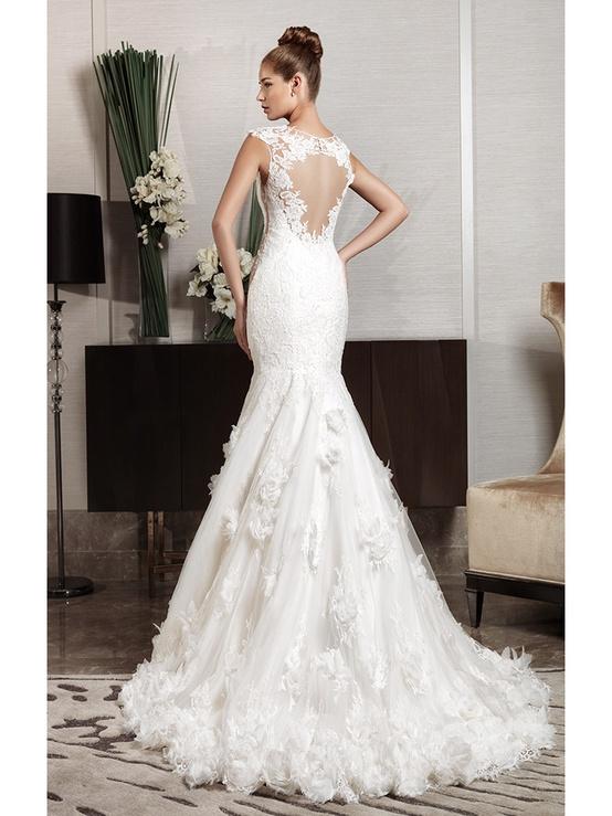 Cut Out Lace Back Fishtail Wedding Dress Intuzuri Bridal