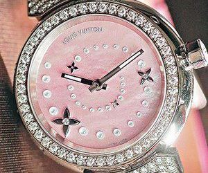 pink, watch, and Louis Vuitton image