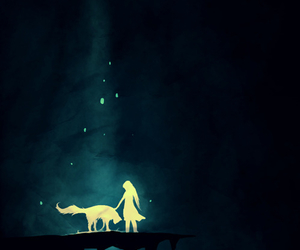 girl, wolf, and night image