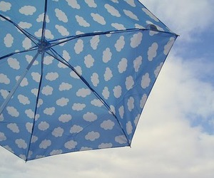 umbrella, blue, and clouds image
