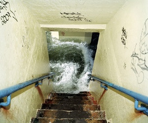 water, stairs, and flood image