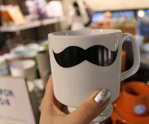 moustache, cup, and mustache image