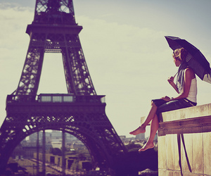 paris, girl, and umbrella image