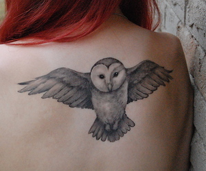 back, hair, and owl image