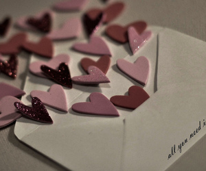 love, hearts, and Letter image