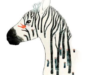 zebra, art, and bird image