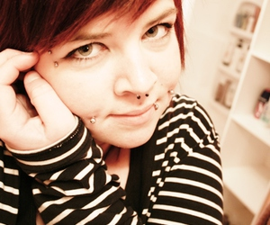 piercing, septum, and red hair image