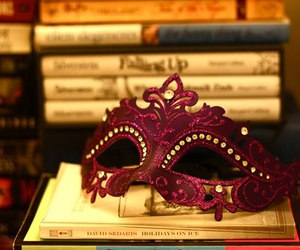 mask, book, and pink image