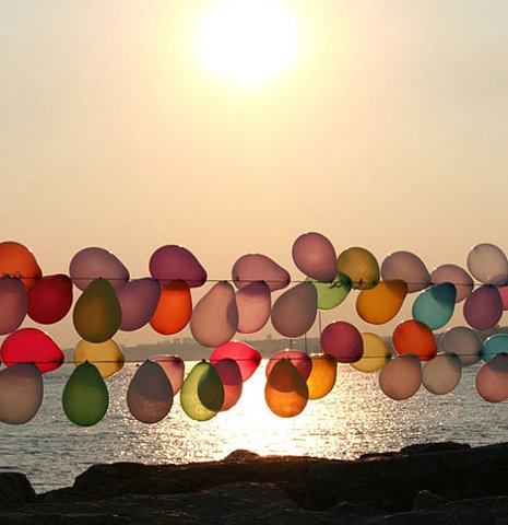 balloons, beach, and sun image