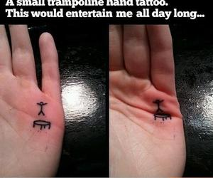 tattoo, trampoline, and funny image
