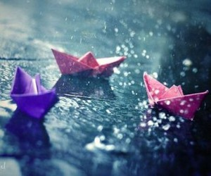 photography, rain, and paper boat image