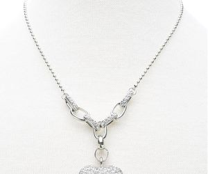 heart, silver, and heart necklace image